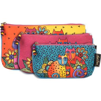Laurel Burch Feline Clan Cosmetic Bag Set of 3