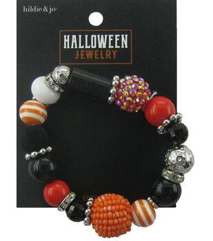 hildie & jo Halloween Stretch Bracelet-Orange Black