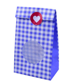 Land of the Free Baking 10 pk Treat Bags with Stickers-Blue Gingham