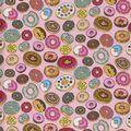 Novelty Cotton Fabric-Yummy Donuts On Pink Dot