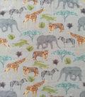 Anti-Pill Plush Fleece Fabric-Watercolor Safari Animals