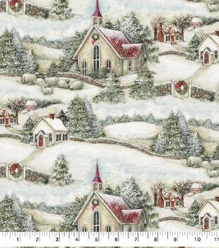 Christmas Cotton Fabric-Country Church