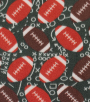 "Blizzard Fleece Fabric 59""-Footballs on Field"