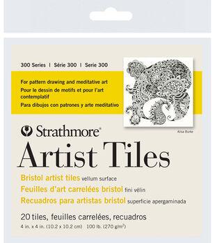 """Strathmore Artist Tiles 4""""X4"""" 20 Pack-Bristol Vellum"""