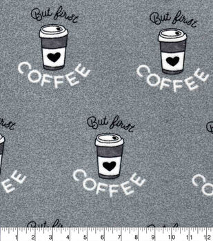 Luxe Flannel Fabric-But First Coffee