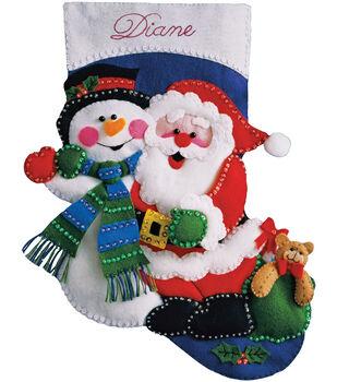 "Santa & Snowman Stocking Felt Applique Kit 16"" Long"