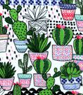 Snuggle Flannel Fabric -Trendy Potted Cacti