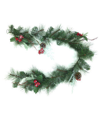 Blooming Holiday Christmas Cedar Pine, Pinecone with Berries Garland