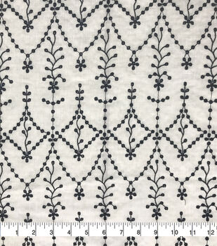 Specialty Cotton 2-Color Embroidered Scallop Cotton Fabric-White Black
