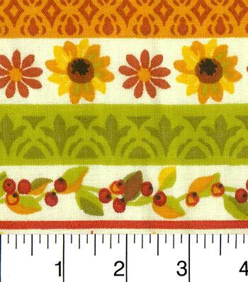 "Harvest Cotton Fabric 43""-White Stripes"