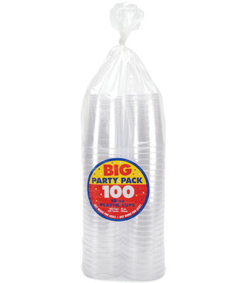 Amscan Big Party Pack Plastic Cups-100PK/Clear