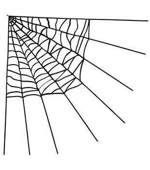 Maker's Halloween Large Corner Spider Web-Black