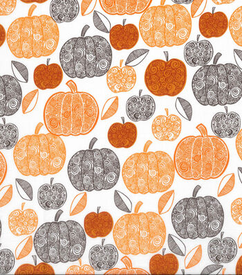 "Harvest Cotton Fabric 43""-Scroll Pumpkins"