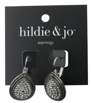hildie & jo Teardrop Antique Silver Earrings-Clear Crystals