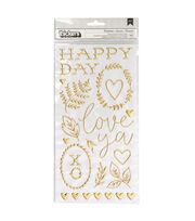 American Crafts Thicker Stickers-Puffy Gold, , hi-res