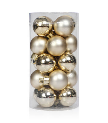 Maker's Holiday Christmas 20 pk 25 mm Shatterproof Ornaments-Champagne