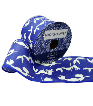 Indigo Mist Ribbon 2.5''x12'-Mermaids on Blue