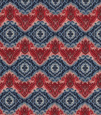 """Patriotic Cotton Fabric 45""""-Patriotic Paisley"""