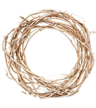 Blooming Autumn 18'' Twig Wreath-Champagne