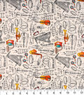 Novelty Cotton Fabric -Musical Instrument Sketch