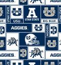 Utah State University Aggies Fleece Fabric -Block