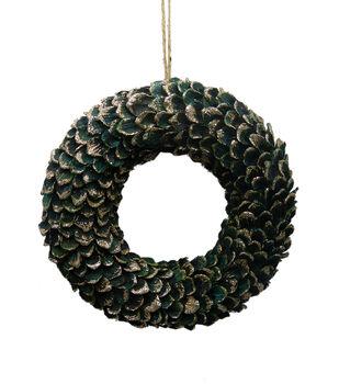 Handmade Holiday Christmas Pinecone Wreath-Green
