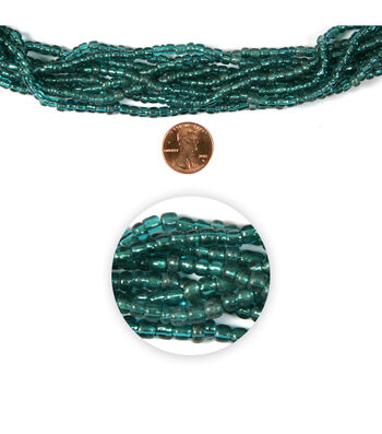 Blue Moon Strung Glass Seed Bead Hank,Teal