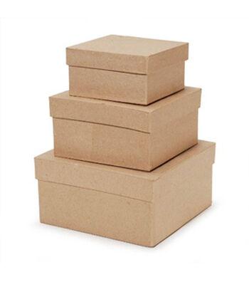 Darice 3 pk Square Paper Mache Boxes