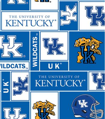 University of Kentucky Wildcats Fleece Fabric -Block