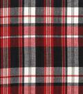 Homespun Cotton Fabric 44\u0022-Black, Gray & Red Square Plaid