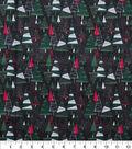 Christmas Cotton Fabric 43\u0022-Modern Trees Forest Glitter