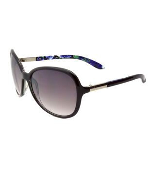 Butterfly Silhouette Sunglasses with Gradient Lens-Print on Black