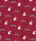Washington State University Cougars Cotton Fabric -Distressed
