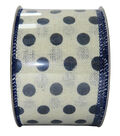 Decorative Ribbon 2.5\u0027\u0027 X 15\u0027-Indigo Dot on Cream