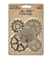 "Tim Holtz Idea-Ology Metal Gadget Gears 1.5"" To 2"" 5/Pkg-Antique Nickel, Brass & Copper, , hi-res"