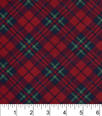 Snuggle Flannel Fabric -Black Red Green Plaid