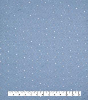 Specialty Cotton Diamond Eyelet Fabric-Powder Blue