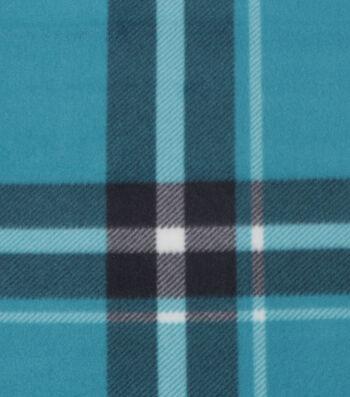 "Blizzard Fleece Fabric 59""-Bryce Teal & Black Plaid"