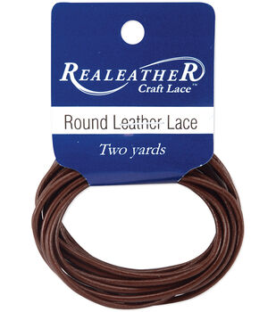 Round Leather Lace 2mm Carded 2yd-Brown