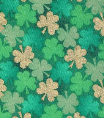 St. Patrick's Day Cotton Fabric -Green Shamrocks Metallic