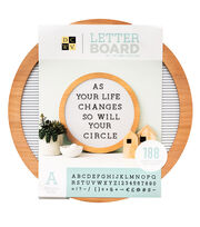 Die Cuts with a View 15''x15'' Round Wood Letterboard with Black Letters, , hi-res