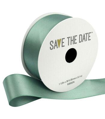 "Save the Date 1.5"" x 30ft Ribbon-Eucalyptus Satin"