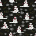 Christmas Cotton Fabric-Snowman Black Flake Glitter