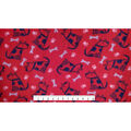 Anti-Pill Fleece Fabric -Sketched Doggies on Red