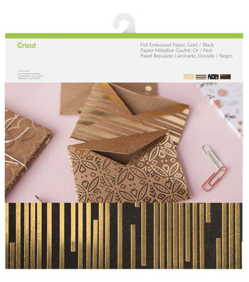 Cricut 12 Pack 12''x12'' Deluxe Foil Embossed Papers-Gold & Black