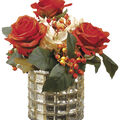 Roses & Hydrangeas in Vase 11\u0027\u0027-Cream & Orange