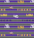 Louisiana State University Tigers Fleece Fabric -Polo Stripe