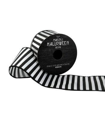 Maker's Halloween Ribbon 2.5''x12'-Black & White Stripes