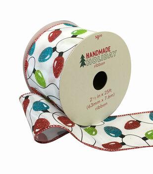 Handmade Holiday Christmas Ribbon 2.5''x25'-Christmas Lights on White