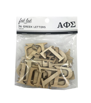 Fab Lab Craft 36 pk Greek Alphabet Letters-Natural